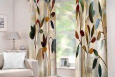 cortinas de flores para salón