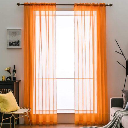 cortinas naranjas para salón