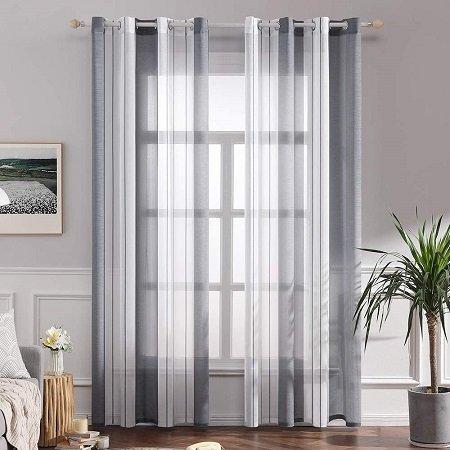 cortinas grises y blancas