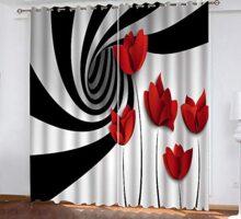 cortinas blancas con detalles rojos