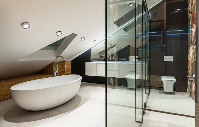 diseño de baños grandes bañera y plato